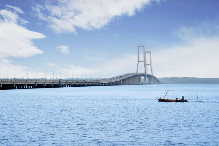 Transportation Water Sky Waterfront Built Structure Cloud - Sky Architecture Bridge Nautical Vessel Sea Day Connection Bridge - Man Made Structure Mode Of Transportation Nature No People Outdoors Travel Sailboat Suramadu Bridge
