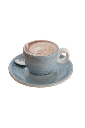 Hot chocolate in a blue ceramic cup on white background. White Background Studio Shot Coffee - Drink Coffee Food And Drink Coffee Cup Drink Cup Refreshment Mug Still Life Crockery Indoors  Saucer Frothy Drink Cappuccino High Angle View No People Copy Space Close-up Latte Non-alcoholic Beverage Food Hot Chocolate Morning Brown Milk Breakfast White Season  Dessert Liquid Sweet Backgrounds Blue Wooden Beverage Cocoa Latte Cream Isolated Glass Mocha Coffee Refreshment Cacao Holiday Beverages Cappuchino