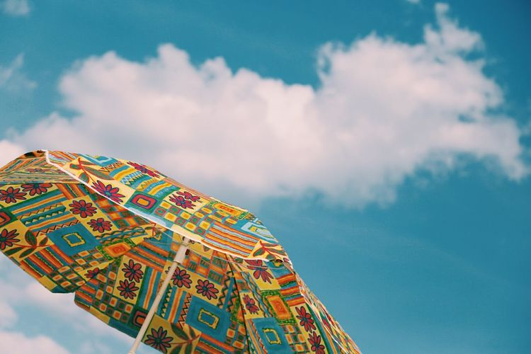 Great blue skyThe Great Outdoors - 2017 EyeEm Awards Sky Blue Cloud - Sky Low Angle View Day Outdoors Still Life Clear Sky Blue Sky Umbrella Summer Spring Sommergefühle Mix Yourself A Good Time Paint The Town Yellow Summer Exploratorium