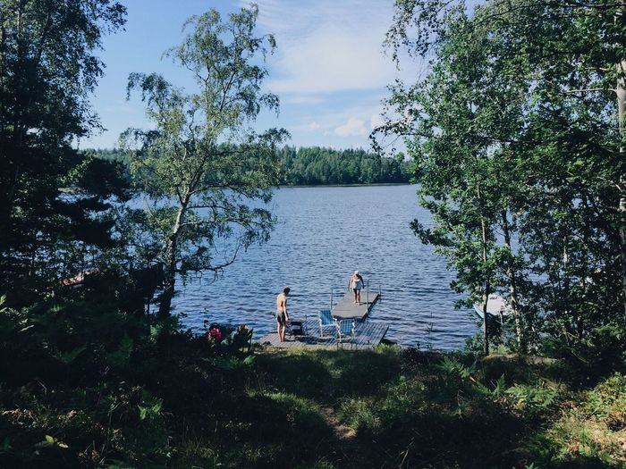My favorite place. Pier Summer House Vacation Växjö  Sweden Trees Selective Focus Unrecognizable Person Family Lake Water Horizon Landscape Outdoors