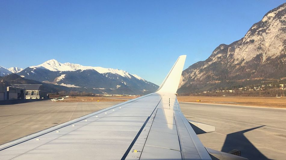 Mountain Transportation Clear Sky Mountain Range Airplane Travel Day Sky The Way Forward Road Outdoors Aireport In The Plane Plane Wing Inssbruck View Through The Window View From The Plane