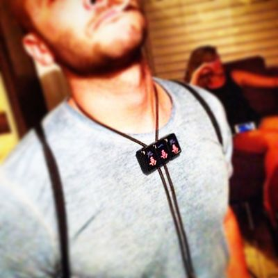 @bengillespie2 found a bolo tie homie while he was out in Raleigh tonight... 919 Raleigh wood