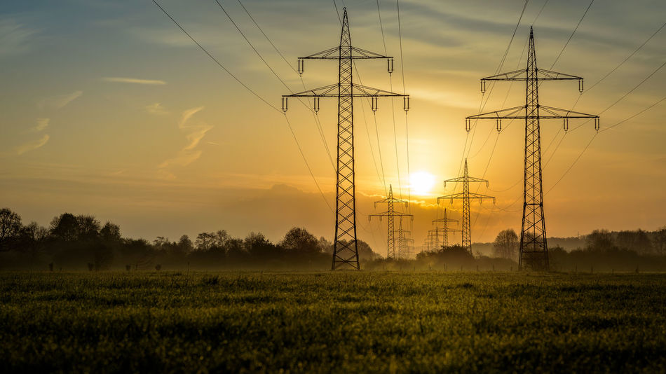 sunrise at the field Agriculture Beauty In Nature Cable Connection Day Electricity  Electricity Pylon EyeEmNewHere Field Fuel And Power Generation Landscape Nature No People Outdoors Power Line  Power Supply Rural Scene Scenics Sky Sun Sunrise Technology Tranquil Scene Tranquility The Great Outdoors - 2017 EyeEm Awards