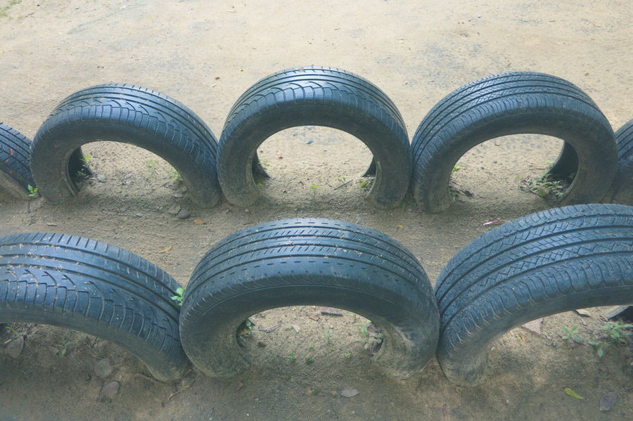 Close-up Day High Angle View Line Up No People Outdoors Playground Playgrounds Tire