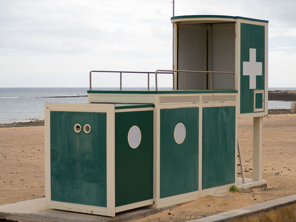 Lifeguard tower on the beach of Fuerteventura Beach Building Exterior Built Structure Cloud - Sky Day Drowning Guard Help Horizon Over Water Life Lifeguard Station No People Nobody Observation Tower Outdoors Rescue Rescuer Safe Safety Saver Sea Sky Station Survival Water