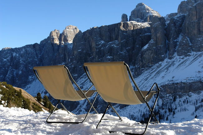 Dolomites, Italy Traveling Adventure Beauty In Nature Clear Sky Cold Temperature Day Frozen Landscape Mountain Mountain Range No People Outdoors Physical Geography Rock - Object Scenics Sky Snow Sunchair Sunlight Tranquil Scene Tranquility Vacations Weather Winter Shades Of Winter