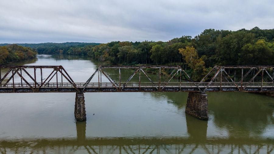Bridge over lake against sky