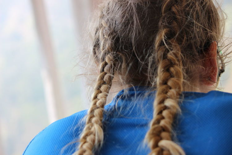 Stealing a portrait from behind. Backside Portrait Blue Braids Casual Clothing Close-up Focus On Foreground Hair Hairstyle Human Hair Indoors  Tourist