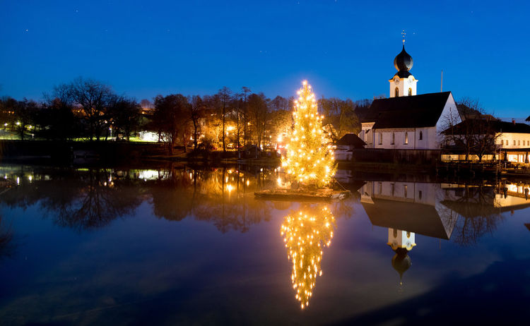 Reflection Building Exterior Built Structure Illuminated Architecture Water Sky Building Nature Night Lake Tree No People Religion Waterfront Place Of Worship Dusk Plant Travel Destinations Outdoors
