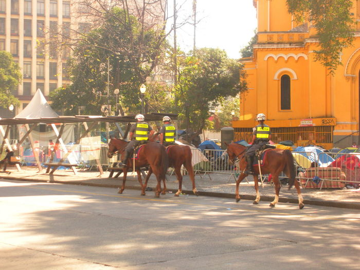 July 15, 2018 - Military Police on horseback patrol downtown São Paulo early Sunday morning. At the Largo do Paissandú is the yellow church Nossa Senhora do Rosário dos Homens Pretos where, as seen in the photo, the homeless camp is still holding up since May 1st this year when a glass and steel skyscraper, the Edifício Wilton Paes de Almeida, invaded by street people, caught fire and imploded. City Life Igreja Nossa Senhora Do Rosário Dos Homens Pretos July 2018 Largo Do Paissandu Military Police On Horseback Sunday Morning Susan A. Case Sabir The Photojournalist - 2018 EyeEm Awards The Street Photographer - 2018 EyeEm Awards Unretouched Photography Downtown São Paulo Homeless Awareness Horseback Horseback Riding Military Police Patrolling Public Safety Real People Regal Social Issues Socio-economic Disparity Socio-economic Problems Street People Sunny Day Urban Photography