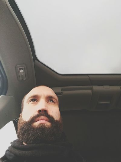 Driving home for Christmas. The New Self-Portrait Beard In My Car