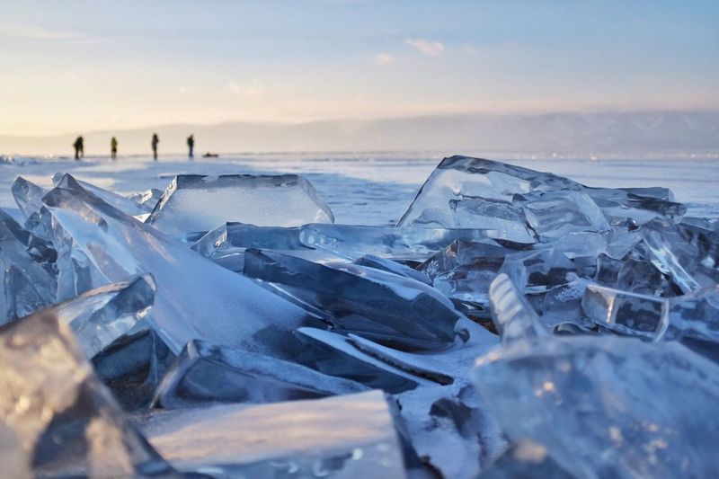 Outdoors Nature Beauty In Nature Frozen Lake Cold Temperature Winter Ice Frozen Baikal Russia