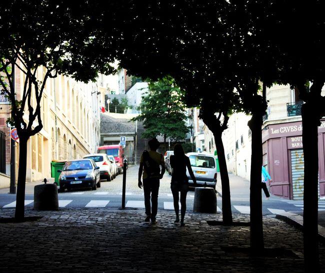 Paris Trees Tree Shadow Two People People Street Peoplephotography People Walking  Tree Shadow Tree Shade