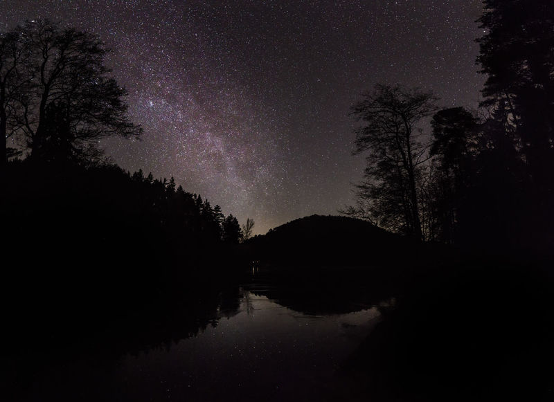 Seehofweiher Galaxy Nachtfotografie Nightphotography Pfälzerwald Seehofweiher Sterne  Sternenhimmel Vorderweidenthal Astronomy Beauty In Nature Milky Way Nachthimmel Night Pfalz Sky Star Star - Space