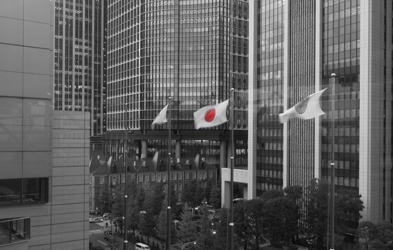 Architecture Built Structure Building Exterior Flag Modern Patriotism Skyscraper City No People Day Office Building Exterior Indoors  Japan!