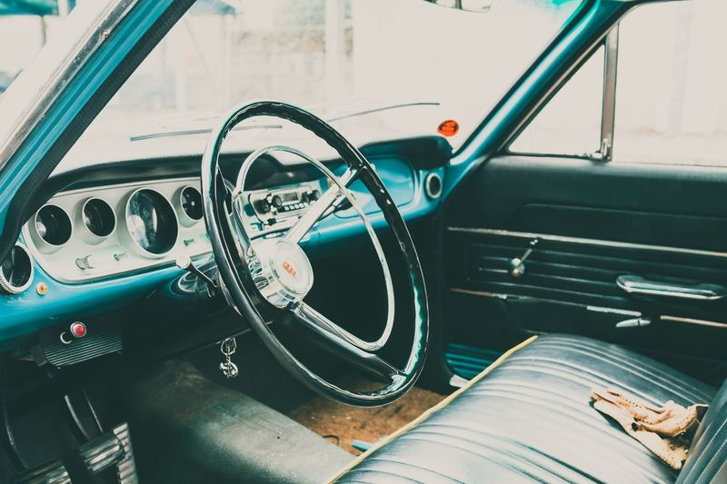Vintage Ford Interior Car Mode Of Transportation Transportation Motor Vehicle Land Vehicle Vehicle Interior Windshield Control Panel Glass - Material No People Vintage Car Dashboard Window Indoors  Steering Wheel Travel Day Retro Styled Car Interior