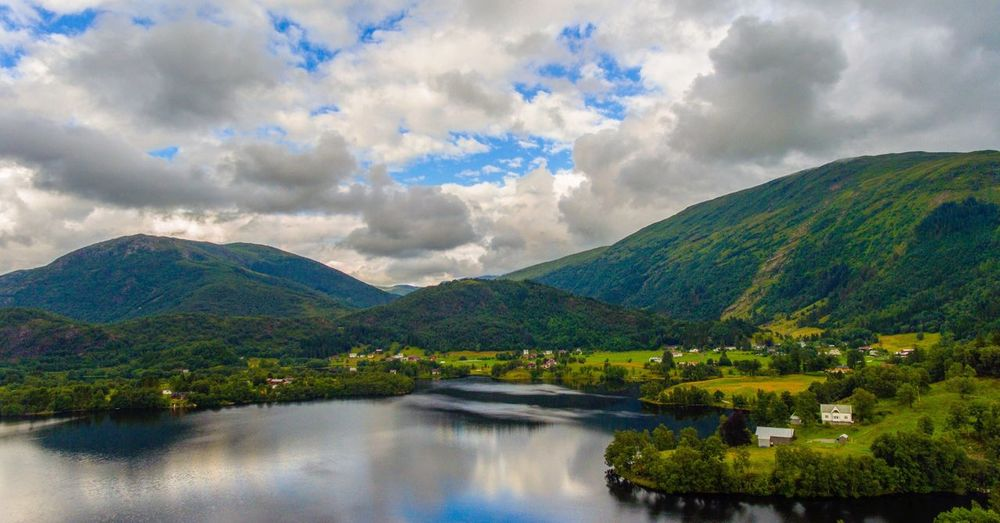 Sky Cloud - Sky No People Dronephotography Drone Photography Drone  DJI Phantom 4 Bergen Bergen,Norway Norway Scenics Nature Beauty In Nature Mountain Tranquil Scene Tranquility Water Fjord Fjordsofnorway Landscape Outdoors Day Waterfront Mountain Range Tree