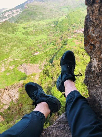 Nike Sneekers Low Section Personal Perspective Human Leg Real People Human Body Part Body Part Lifestyles Shoe One Person Nature Plant Day Land Men High Angle View Landscape Green Color Casual Clothing Outdoors Leisure Activity
