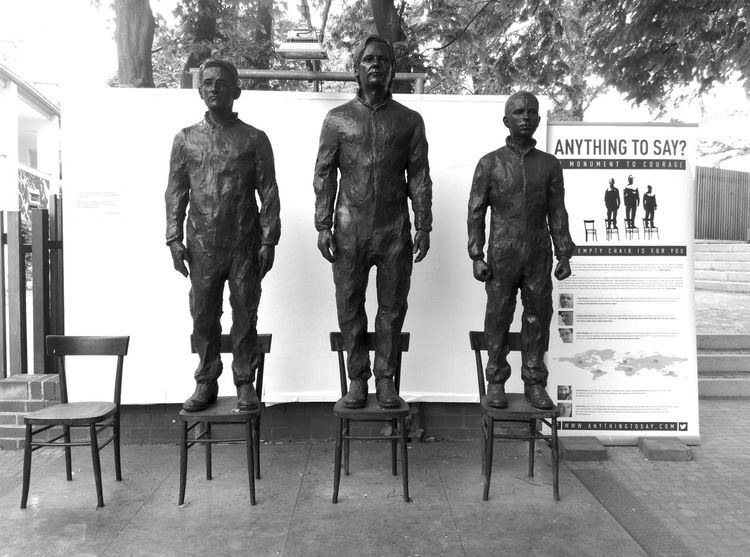 http://anythingtosay.com/ Anything To Say? Berlin Bronze Bronze Sculpture Chairs Chelsea Manning Edward Snowden Empty Julien Assange Life Size  Sculpture