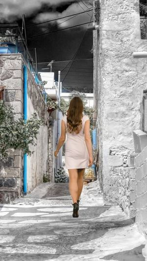 #splash_greece #splash #colorsplash #Greece #aigina #holidays #sammer #girl #walking #edit #bestofeyem #Splash #splash Greece #colorsplash #greece #aigina #EyeEm #bestoftheday #style #amazing #art #photography #pic #fotografia #nature #animals #foto #pics #snapshot #photos #photo #moment #exposure #focus #capture #color #exposicion #naturaleza #hdr #blackandwhite #byn #blancoynegro #monochrome Blond Hair Full Length Back Human Back Females Portrait Rear View Mini Dress Shoe Shoelace Stiletto Mini Skirt
