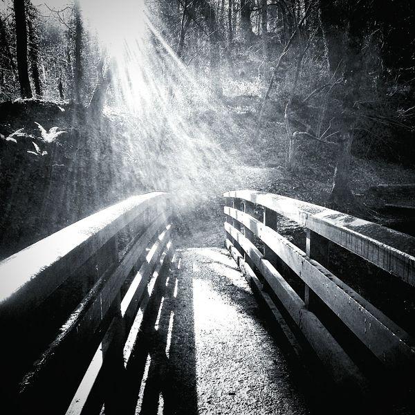 Dramatic Black And White Crossing The Bridge Sunlight And Shadow Eyeem Monochrome Stunning Contrastporn Sun Glare Painting With Light Blackandwhite Monochrome