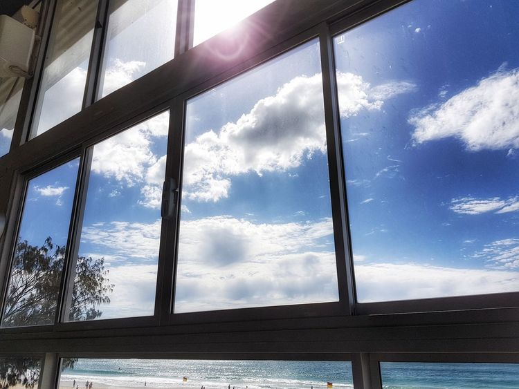 Cloud - Sky Sky Window Day Water Blue No People Outdoors Nature Architecture Beachphotography Sea And Sky Sea View Beach View Morning Sun Morning Sunshine Beautiful Day Nature Window View Window Frame