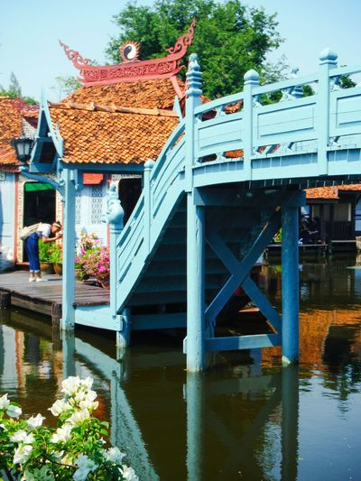 Water River Bridge Bridge Over Water Stop And Smell The Roses Stop And Smell The Flowers Beauty In Nature Real People Bridge - Man Made Structure Explore Asia Travel Photography Travel Travel Asia Thailand Travel Thailand Serene Calm Peaceful Cute Bridge Walk Pretty Bridge