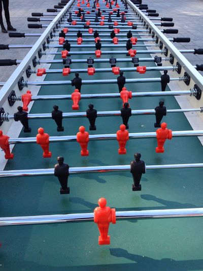 High angle view of foosball on street