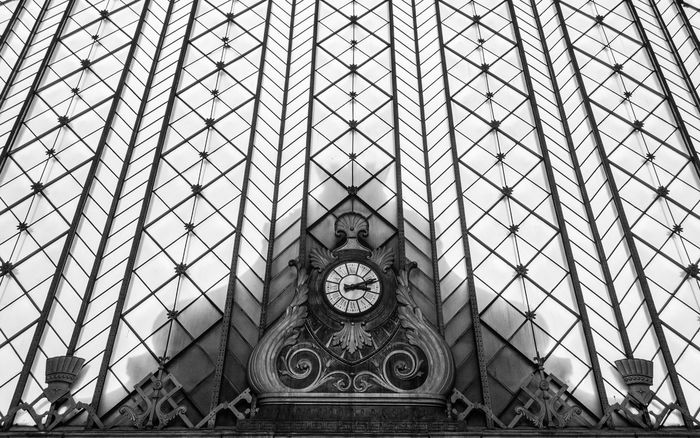 Architectural Feature Architecture Atocha Built Structure Capital Cities  Clock Culture Day Design Directly Below Famous Place Full Frame Geometric Shape International Landmark Low Angle View Modern No People Ornate Sky Skylight Tall - High Tourism Travel Destinations Traveling Home For The Holidays