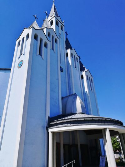 EyeEm Selects Architecture Church Heviz Hungary Low Angle View Blue Day Outdoors Built Structure Sky Building Exterior No People Clear Sky City