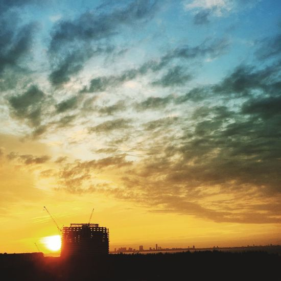 Sunset Silhouette Sky Orange Color No People Sun Cloud - Sky Beauty In Nature Nature Scenics Outdoors Built Structure Building Exterior Architecture Sea Day 朝日