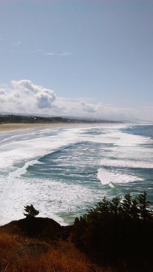 Beach Sea Nature Scenics Landscape Outdoors Sand No People Wave Beauty In Nature Day Sky Ocean Ocean View Oregon Coast Beauty In Nature Oregon Tranquil Scene Ocean And Sky Cloud - Sky Travel Destinations Travel Hiking Wave Tide Coming In