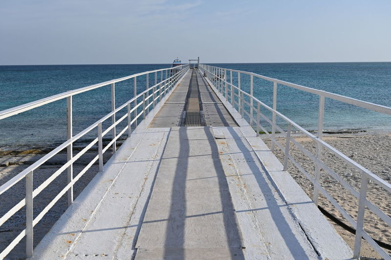 Railway bridge over sea against sky