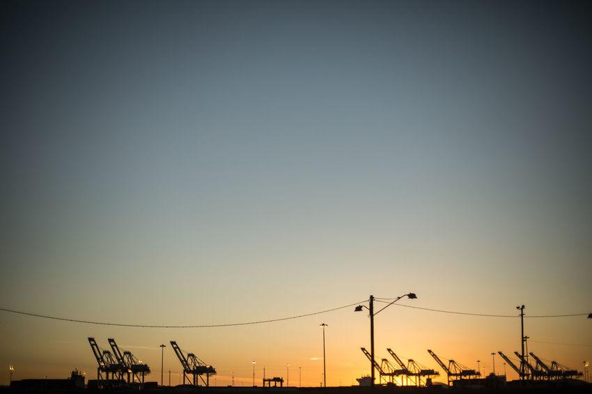 California Construction Crane Day Horizon Outdoors Port Sky Summer Sunset Winter