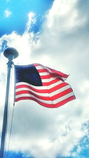 Happy 4th Of July Weekend Our Flag American Flag Blue Sky White Clouds American Flag