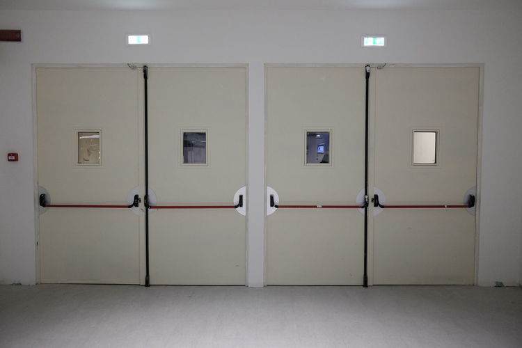 Closed door in corridor