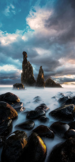 Madeira Portugal Sky Cloud - Sky Water Rock Beauty In Nature Solid Rock - Object Sea Scenics - Nature No People Nature Tranquility Motion Tranquil Scene Land Non-urban Scene Beach Idyllic Outdoors Sunrise