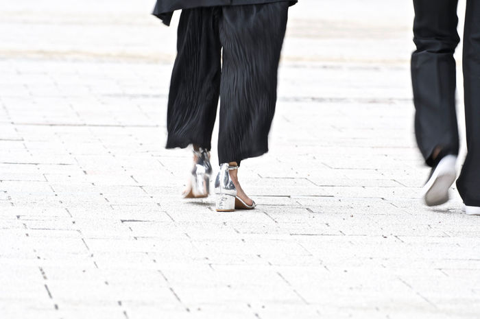 Black Dressed Fashion High Heels People Shoes Silver Shoes Street Photography Walking