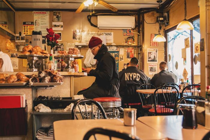 Breakfast in New York Customer Care Business Police NYPD Brunch Breakfast Cafe Food And Drink People Adult Women Food Men Lifestyles Restaurant Table Business Group Of People Customer  Leisure Activity Architecture Occupation Sitting Seat Indoors