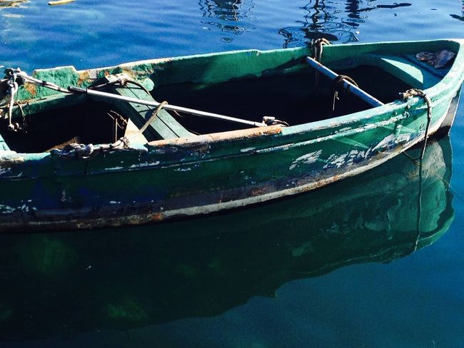 Blue Sea Boat Green Color Nautical Vessel No People Old Rope Side View Water Wood Wood - Material