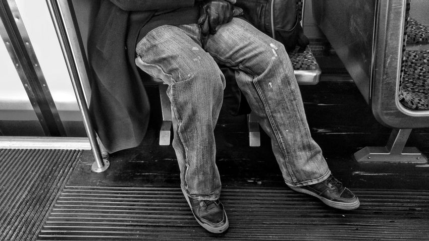 Monochrome Blackandwhite Train Morning Morningcomute Portraits Low Section Indoors  Sitting One Person Human Leg