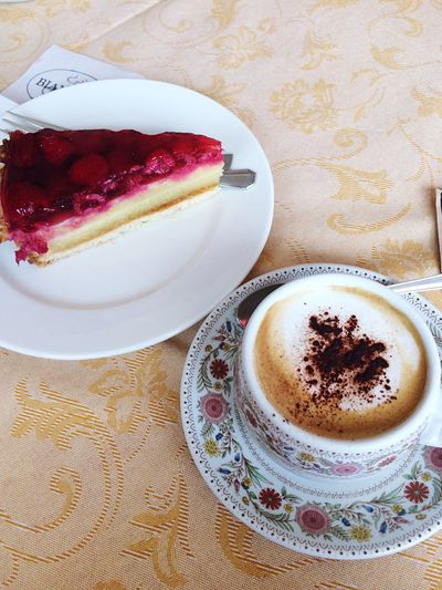 Breakfast Colazione Lago Di Misurina Food And Drink Table Coffee Cup Sweet Food Indoors  Coffee - Drink Plate Food Freshness Indulgence Refreshment Temptation Drink No People Dessert Unhealthy Eating Close-up Ready-to-eat Frothy Drink Froth Art Raspberry Cappuccino