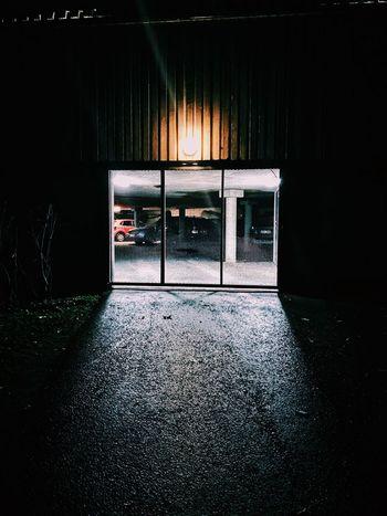 Garage Entrance Night Door Illuminated Empty No People Indoors  Entry Doorway Built Structure Architecture