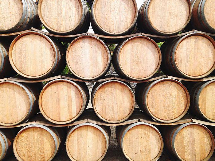 Full Frame Shot Of Wooden Cellars At Vineyard