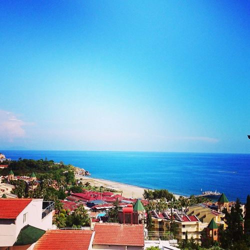 Alanya/Turkey Home Balcony View Water Clear Sky Sea Beach Blue Summer High Angle View Tourist Resort Multi Colored Sunny
