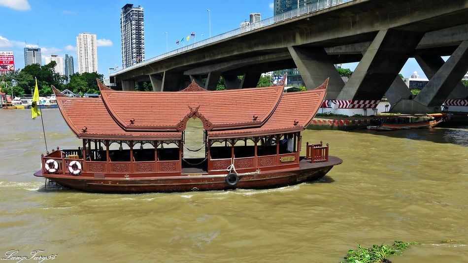 mae nam chao phraya bangkok Bangkok Boats Bridge - Man Made Structure City Life Mae Nam Chao Phraya Bangkok Mode Of Transport Taksin Bridge Thailand Tourism Transportation Travel Travel Destinations Water Waterfront