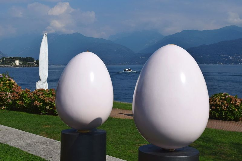 Two Is Better Than One Sphere White Color Close-up Round Water Buoy Man Made Object Jet Engine Geometric Shape Cloud - Sky Mountain Range Modern Outdoors Tranquility Space Exploration