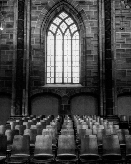 In A Row Indoors  Window Architecture Chair Religion Built Structure EyeEm Awards 2017 Black & White Black And White Blackandwhite Photography Monochrome Bnw