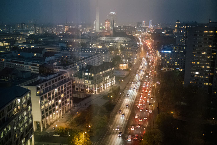 Berlin Aerial View City Berlin Berliner Ansichten Building Exterior Built Structure Architecture No People Building Outdoors Illuminated Cityscape Night High Angle View Street Transportation Office Building Exterior Road City Life Nature Residential District Traffic Motion Skyscraper Modern