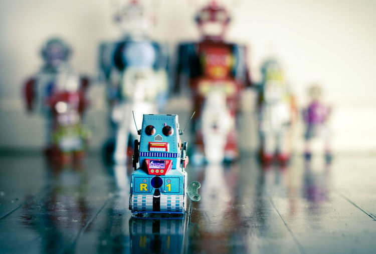 Close-up of toy robot on floor